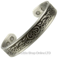 COPPER PEWTER MAGNETIC Bracelet VIKING DESIGN 6 Magnets Health Rare Earth NdFeB