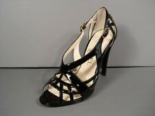 "CHANEL BLACK PATENT LEATHER STRAPPY SANDALS HEELS PUMPS GOLD ""CC"" 35/5 NEW $1016"