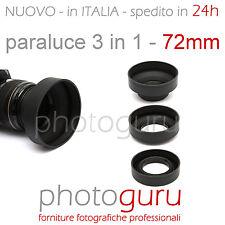 Paraluce 3 in 1 72mm universale gomma compatibile Canon Nikon Sony Tamron 72 m