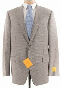Hickey Freeman NWT Sport Coat Size 44R In Light Brown & Blue Plaid Beacon $1,095