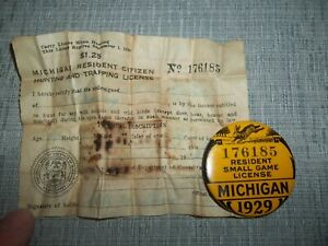 1929 - Michigan Resident Small Game License with Paper License- Vintage Hunting