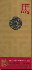 "2014""Lunar Year of ""The Horse"" Australia $1 Dollar UNC Coin on Card"