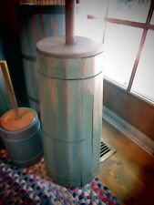 """PRIMITIVE BUTTERCHURN WITH ORIGINAL DASHER AND LID - GREEN -35"""" TALL"""