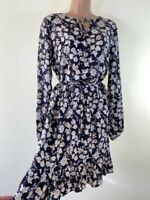 BNWOT NEXT boho charcoal grey floral print long sleeve tea dress size 8 eu 36