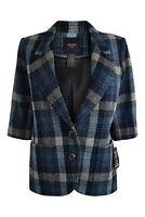 SMYTHE LES VESTES Wool Blend Blue Checked Blazer (12)