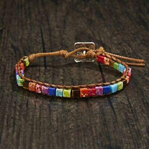 Womens Chakra Bracelet Natural Stone Tube Beads Leather Wrap Bangle Jewelry Gift