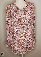 Talbots Size 1X Women's Top Floral Tie Neck Long Sleeve Blouse Shirt