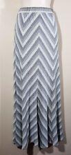 Size Medium LAPIS Long Maxi SKIRT Stetch Fit & Flare Chevron Stripe Gray Rayon