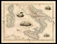 CARTA GEOGRAFICA 1800 ITALIA SUD SICILIA CAMPANIA