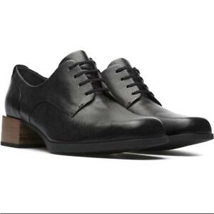 Camper NEW Kobo Block Heel Oxford Premium Leather Black Shoes Women's