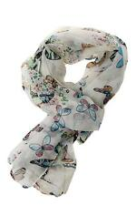 1PC Ladies Simple White Butterfly Print Neck Chiffon Shawl Scarf Wrap Scarves Y