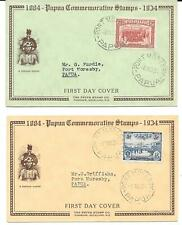 PAPUA 1934 stamps 2d. & 3d. on 2 official illustrated First Day Covers