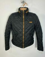 MENS SUPERDRY SIZE SMALL PLAIN BLACK CASUAL PADDED QUILTED BOMBER JACKET COAT