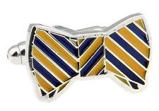 Bow Tie Bowtie Blue Yellow Cufflinks Groom Wedding Fancy Gift Box Free Ship USA