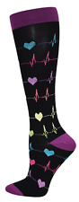 Heart EKG Nurse Medical 10-14mmHG Fashion Compression Socks