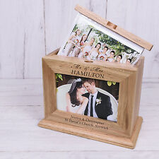 Personalised Wooden Mr and Mrs Photo Album with sleeves Wedding Day Gift 6x4