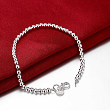 Womens 925 Sterling Silver 4mm Beads Ball Link Chain Charm Bracelet #BR425