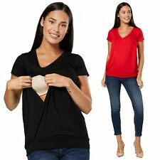 Happy Mama Damen Maternity T-Shirt Still Lagenlook Top kurze Ärmel 1262