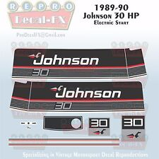 1972 Johnson 25HP Electric Outboard Repro Faux Chrome Panels 3 Pc Vinyl Decals