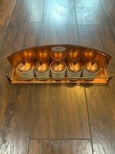 Vintage Antique Copper Spice Rack with 5 Ceramic Jars and Lids