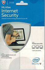 McAfee Internet Security 2015 3 PCs 3 PC 3 Users updates to latest Year 2017
