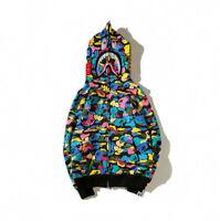Casual Hoodie Bape Colorful Camo Shark Jaw Head A Bathing Ape Jacket Women Men