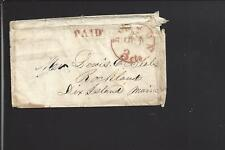 BOSTON,MASSACHUSETTS 3 PAID IN DIAL, STAMPLESS ENVELOPE TO MAINE.
