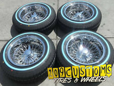 "13"" 13X7 REVERSE 72 SPOKES WHEELS TIRES LOWRIDER WIRE WHEELS  IMPALA CAPRICE"