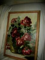 ANTIQUE EARLY 1900's ROSES PRINT SIGNED ESTABROOK CREAMY BUTTERY FRAME