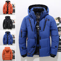 Men Winter Warm Thick Quilted Outerwear Hooded White Duck Down Jacket Coat Parka