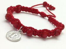 Pulsera Roja Con Medalla De San Benito Y Crystal Rojo Tejida macrame