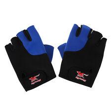 2 Pcs Black Blue Neoprene Fingerless Sports Gloves for Men T3Q9