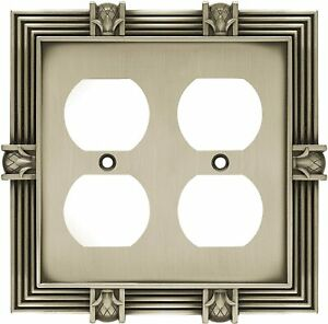 Double Duplex Wall Plate Pineapple Satin Pewter Franklin Brass 64458