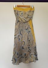 Lisa ho womens size 10 blue yellow paisley knee length strapless layered dress