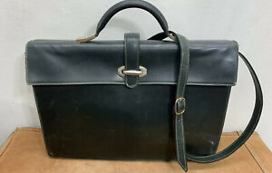 Lederer Leather Green Purse Briefcase Attache Made In Italy