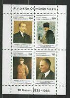 S31008) Turkish Cyprus 1988 MNH Kemal Ataturk S/S