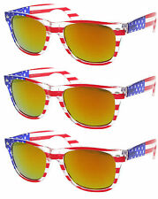 3 PAIRS RED BURST FIRE LENS American USA US Flag Retro 80s Sunglasses United new