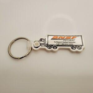 """Vintage BNSF Railway Truck Keychain White 3-3/4"""" HTF"""