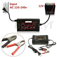 12V 6A Smart Lead-Acid Quick Battery Charger Car Motorcycle LCD Display US Plug