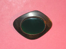 Green Onyx Modernist Sterling Pin ~ Hand Made ~ Israel