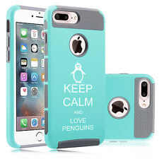 For iPhone 6 6s 7 Plus Dual Shockproof Hard Case Cover Keep Calm Love Penguins