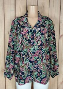 BON WORTH Women Size Large Petite Long Sleeve Shirt Button Down Floral Poly Top