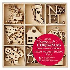 45 Mini Holz Anhänger Christmas Lebkuchenmann Christbaum Weihnachtsbaumschmuck