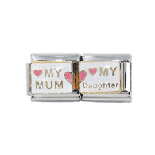 My Mum My Daughter Double Enamel Italian Charm - fits 9mm classic bracelets
