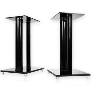 2x Boxenständer V2 - BLACK LINE - Glas Alu Säule Podest Lautsprecher Stativ NEU