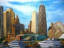 Original Painting Chicago Illinois Navy Pier Lake Michigan Skyscrapers Art