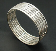 Five Row Mesh Chain Woven Round Slide Bangle Bracelet Real 925 Sterling Silver