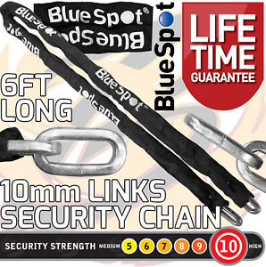 HEAVY DUTY Security Chain 10mm x 6ft Hardened Steel Motorbike Chain Square Links