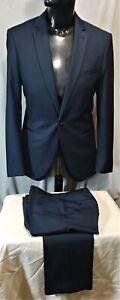 Size 36 CONNER mens 1 button slim suit formal event shimmer black trim