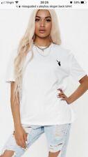 Missguided X Playboy Slogan Back T-shirt. Size Uk 8